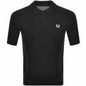 Fred Perry Textured Knit Polo T Shirt Black