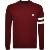 Fred Perry Crew Neck Knit Jumper Red