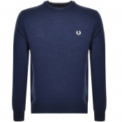 Fred Perry Crew Neck Knit Jumper Blue