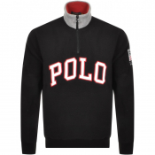 Ralph Lauren Half Zip Logo Fleece Sweatshirt Black