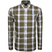 Product Image for Fred Perry Long Sleeved Twill Check Shirt Green