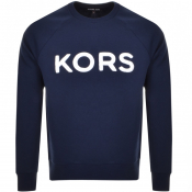Michael Kors Crew Neck Terry Logo Sweatshirt Navy