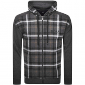 BOSS HUGO BOSS Full Zip Check Hoodie Grey