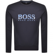 Product Image for BOSS HUGO BOSS Crew Neck Logo Sweatshirt Navy