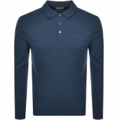 Product Image for Michael Kors Sleek Long Sleeve Polo T Shirt Blue