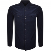 Replay Long Sleeved Corduroy Shirt Navy