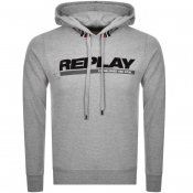 Replay Logo Pullover Hoodie Grey