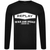 Product Image for Replay Long Sleeved Logo T Shirt Grey