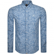 Pretty Green Long Sleeved Slim Paisley Shirt Blue