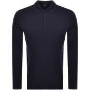 Product Image for BOSS Casual Long Sleeved Polo T Shirt Navy