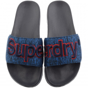 Superdry Classic Logo Sliders Navy