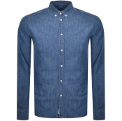 Product Image for Les Deux Long Sleeve Chambray Denim Shirt Blue