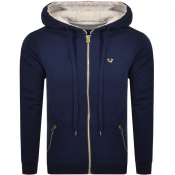 True Religion Full Zip Fleece Hoodie Navy