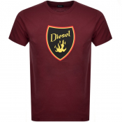 Diesel T Diego Short Sleeved T Shirt Burgundy