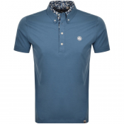 Pretty Green Floral Collar Polo T Shirt Blue