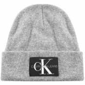 Product Image for Calvin Klein Jeans Knit Logo Beanie Hat Grey