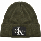 Product Image for Calvin Klein Jeans Knit Logo Beanie Hat Green
