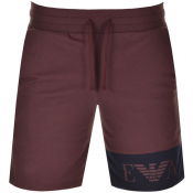 Product Image for Emporio Armani Logo Sweat Shorts Burgundy