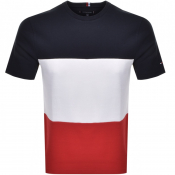Tommy Hilfiger Textured Cut And Sewn T Shirt Navy