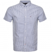 Tommy Hilfiger Short Sleeved Stripe Shirt Blue