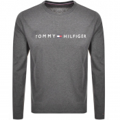 Product Image for Tommy Hilfiger Long Sleeved Flag Logo T Shirt Grey