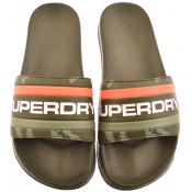 Superdry Retro Colour Block Logo Sliders Khaki