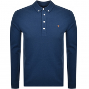 Farah Vintage Long Sleeved Polo T Shirt Blue