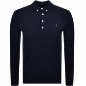 Product Image for Farah Vintage Long Sleeved Polo T Shirt Navy