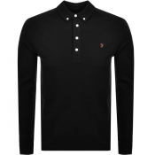 Product Image for Farah Vintage Long Sleeved Polo T Shirt Black