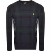 Product Image for Lyle And Scott Check Crew Neck Knit Jumper Navy