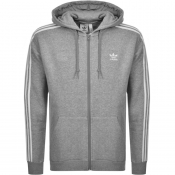 adidas Originals 3 Stripes Full Zip Hoodie Grey