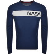 Alpha Industries Long Sleeved NASA T Shirt Navy