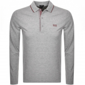 BOSS Athleisure Long Sleeved Polo T Shirt In Grey