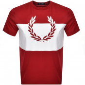 Product Image for Fred Perry Printed Wreath Logo T Shirt Red