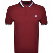 Fred Perry Abstract Collar Polo T Shirt Burgundy