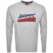 Product Image for BOSS HUGO BOSS Logo Crew Neck Sweatshirt Grey