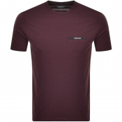 Emporio Armani Pocket Logo T Shirt Burgundy