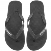 Armani Exchange Logo Flip Flops Black