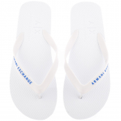 Armani Exchange Logo Flip Flops White