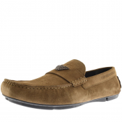 Product Image for Emporio Armani Suede Driver Shoes Khaki
