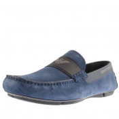 Product Image for Emporio Armani Suede Driver Shoes Navy