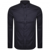 Armani Exchange Long Sleeved Slim Fit Shirt Navy