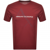 Armani Exchange Crew Neck Logo T Shirt Red