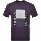 Armani Exchange Crew Neck Logo T Shirt Purple
