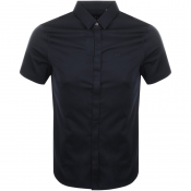 Armani Exchange Short Sleeved Slim Fit Shirt Navy