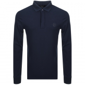 Product Image for Armani Exchange Long Sleeved Polo T Shirt Navy