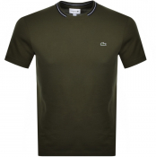 Lacoste Tipped Crew Neck Logo T Shirt Green