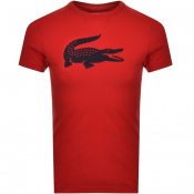 Lacoste Sport Crew Neck Logo T Shirt Red