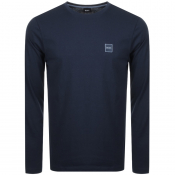 BOSS Orange Long Sleeved Tacks T Shirt Navy