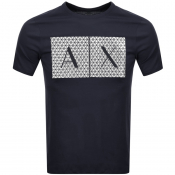 Armani Exchange Crew Neck Logo T Shirt Navy